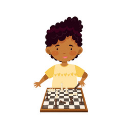 Smart african american girl character playing vector