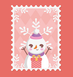 snowman gift box and snowflakes merry christmas vector image