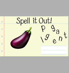 Spell english word eggplant vector