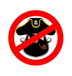 stop pirate red prohibiting sign rover ban vector image