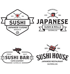 sushi shop labels and badges design templates set vector image