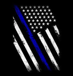 Thin blue line flag - police officer - flag vector