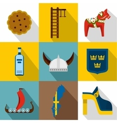 Tourism in Sweden icons set flat style vector image