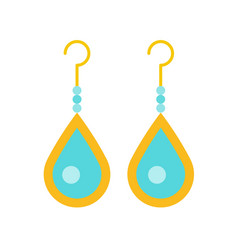Turquoise drop earring jewelry related icon flat vector