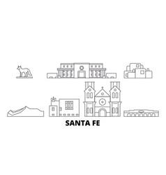 United states santa fe line travel skyline set vector