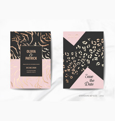 wedding invitation cards save the date animal skin vector image