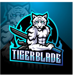 white tiger with blade esport mascot logo vector image