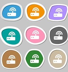 Wi fi router icon symbols Multicolored paper vector
