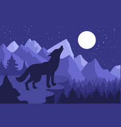 wild wolf howling on the hillside vector image