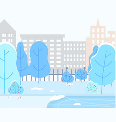 Winter landscape cityscape buildings and trees vector