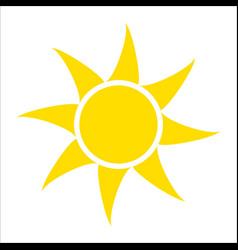 Yellow sun icon isolated on white background flat vector