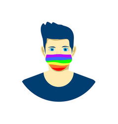 young man in protection face mask lgbt pride vector image
