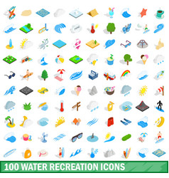 100 water recreation icons set isometric 3d style vector image