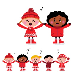 caroling multicultural kids vector image vector image