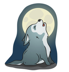 cute little howling wolf vector image