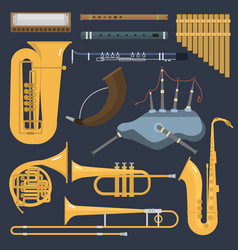 Musical wind brass tube instruments isolated on vector