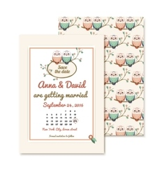 retro invitations with the couple wedding cute vector image