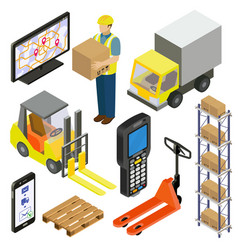 warehouse logistics delivery isometry vector image