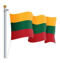 waving lithuania flag isolated on a white vector image vector image