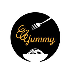 yummy noodle logo with fork vector image vector image