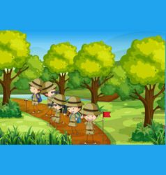 scene with kids scouting the forest vector image vector image