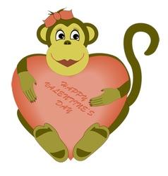 valentines day monkey vector image