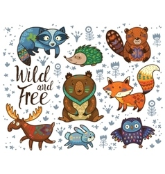 Wild and free Woodland tribal animals set vector image