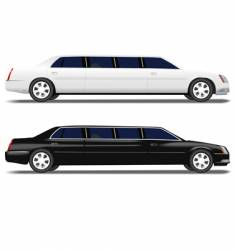 black limo and white limousine vector image vector image