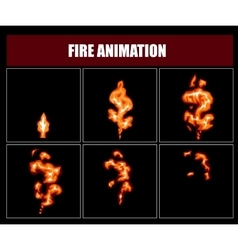 Fire animation sprites flame video frames vector image