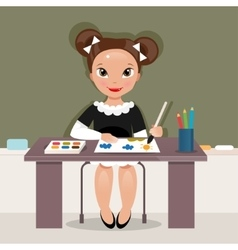 Girl on the drawing lesson vector image vector image