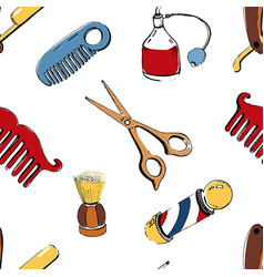 hand drawn barbershop seamless with accessories vector image
