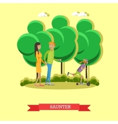leisurely walk with family in a park concept vector image vector image
