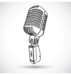 Microphone in doodle style vector image vector image