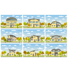 nine modern houses with barrel roof in autumn vector image