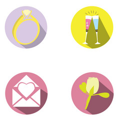 set of wedding objects vector image
