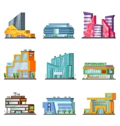 Shopping Mall Building Set vector image