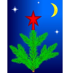 Star on Christmas tree vector image