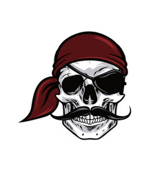 pirate head skull mascot design vector image vector image