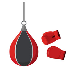 Punching bag and gloves attempts on sports vector