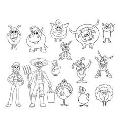 set of hand drawn cartoon farm animals and male vector image