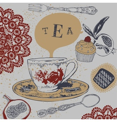 Tea Cupcakes vector image