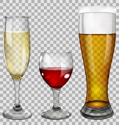 Transparent glass goblets with drinks vector image vector image