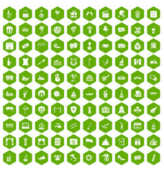 100 mask icons hexagon green vector