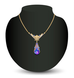 a golden necklace female with white precious vector image