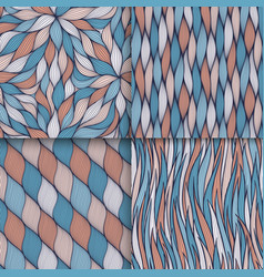 abstract wavy lines seamless patterns set floral vector image