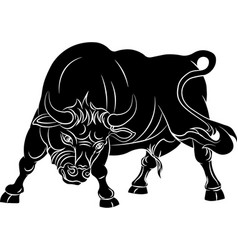 Angry bull isolated on white background vector