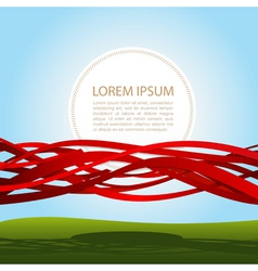 banner in red ribbons vector image