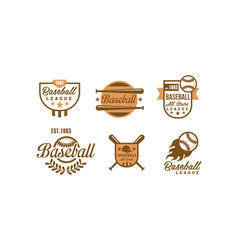 baseball logo set retro emblems baseball vector image