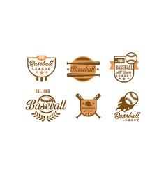 baseball logo set retro emblems of vector image