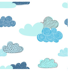 beautiful seamless pattern doodle clouds vector image